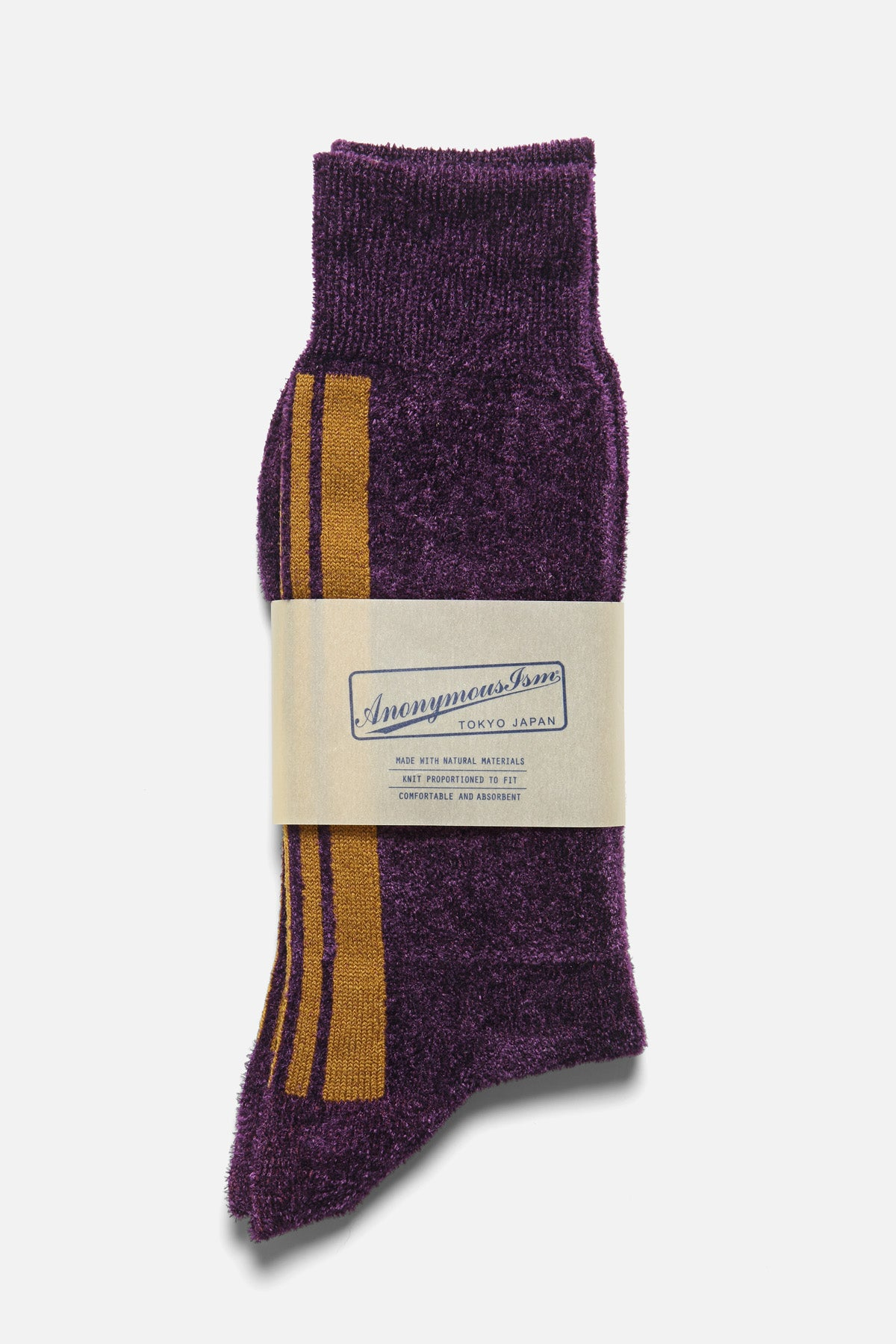 ANONYMOUS ISM - VELVET STRIPE CREW IN PURPLE - Fortune Goods