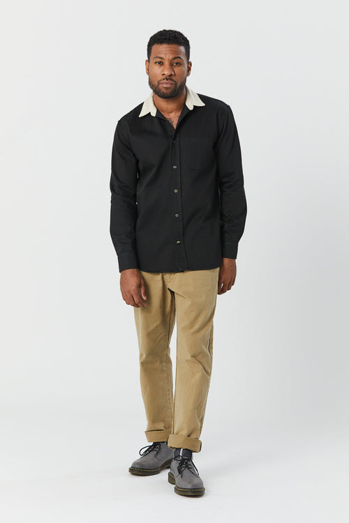 CONTRAST SHIRT IN BLACK - Fortune Goods