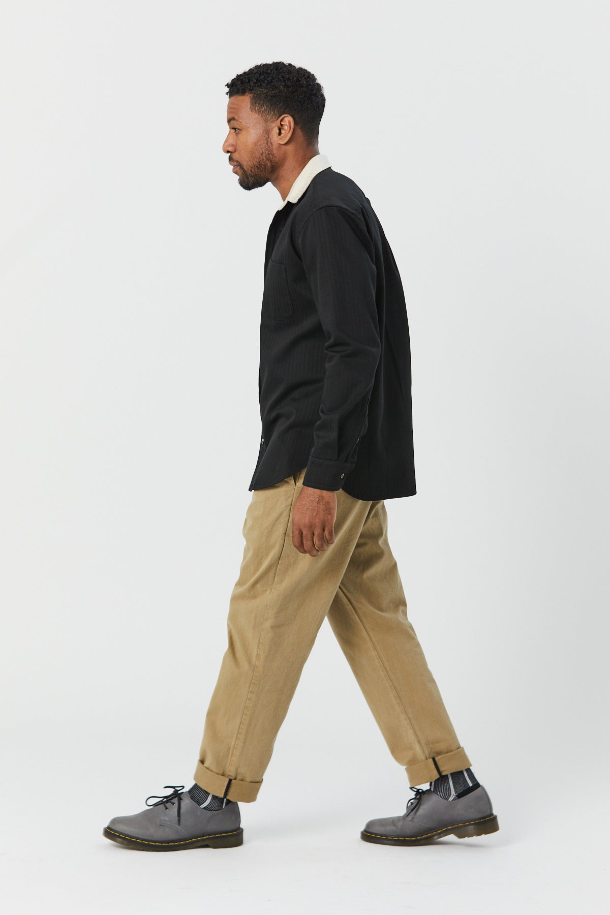 CONTRAST SHIRT IN BLACK HERRINGBONE - Fortune Goods