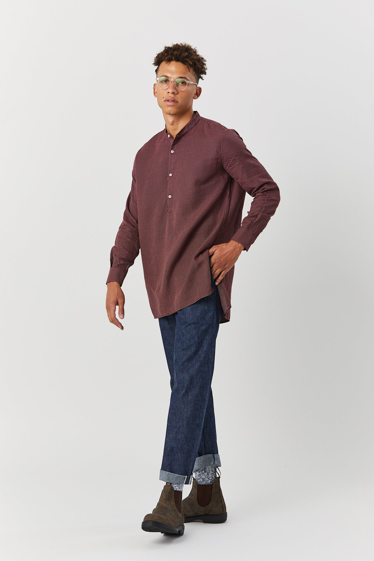 MARTIUS TUNIC IN MAROON CHECK - Fortune Goods