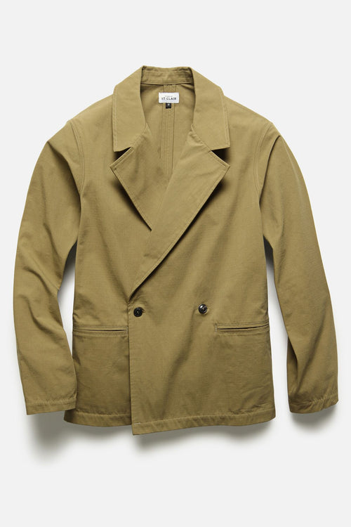 DOUBLE BREASTED JACKET IN KHAKI RIPSTOP - Fortune Goods