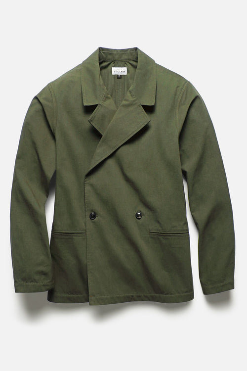 DOUBLE BREASTED JACKET IN MOSS RIPSTOP - Fortune Goods