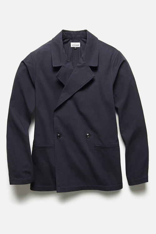 DOUBLE BREASTED JACKET IN NAVY RIPSTOP - Fortune Goods