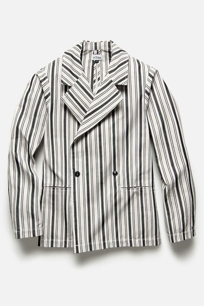 DOUBLE BREASTED JACKET IN BLACK STRIPE - Fortune Goods