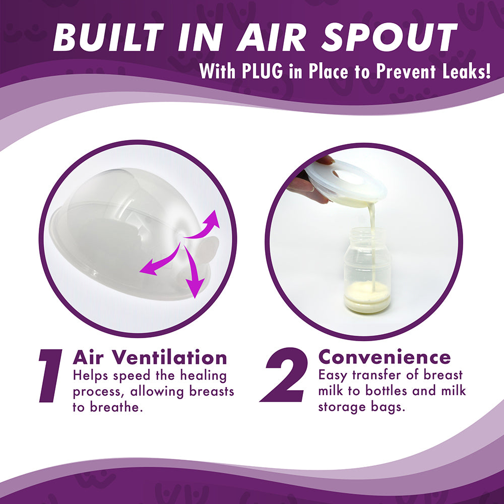 Sore While Nursing or Pumping Protect Cracked New Model with Plugs 2 in 1 Breast Shell /& Milk Catcher for Breastfeeding Relief Engorged Nipples /& Collect Breast Milk Leaks During The Day