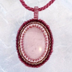 Pink Opal oval Gemstone Pendant with Beaded Bezel - New Earth Gifts