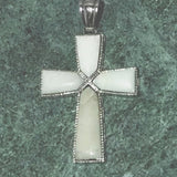 White Agate Cross Pendant - New Earth Gifts