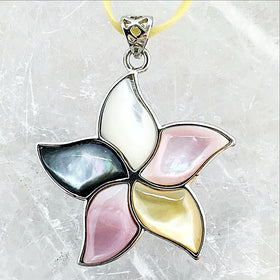 Mother of Pearl Inlay Floral Pendant | New Earth Gifts