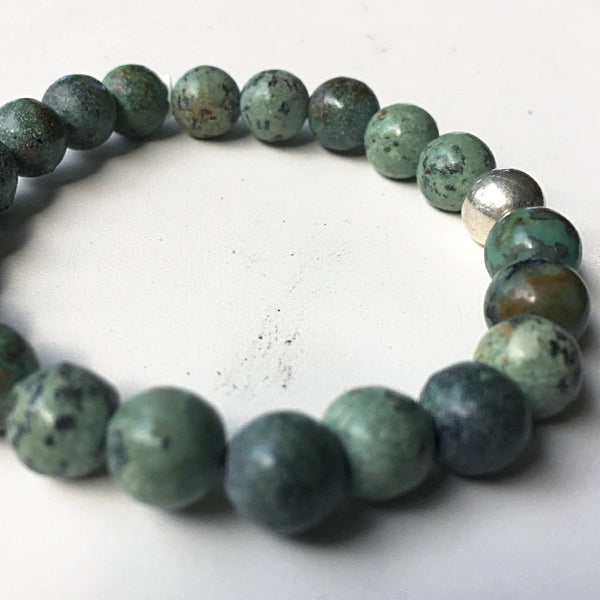 African Turquoise Power Bracelet 8mm - New Earth Gifts