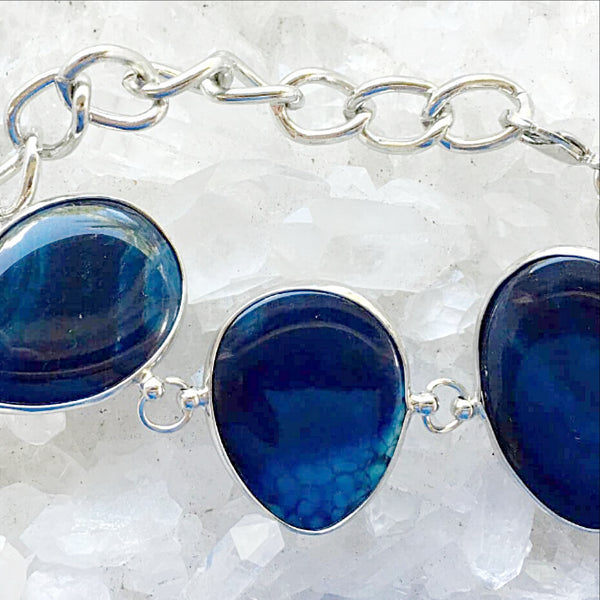Blue Agate Bangle Bracelet - New Earth Gifts