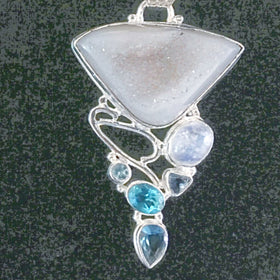 Agate Drusy Pendant with Rainbow Moonstone, Blue Topaz, Iolite - New Earth Gifts
