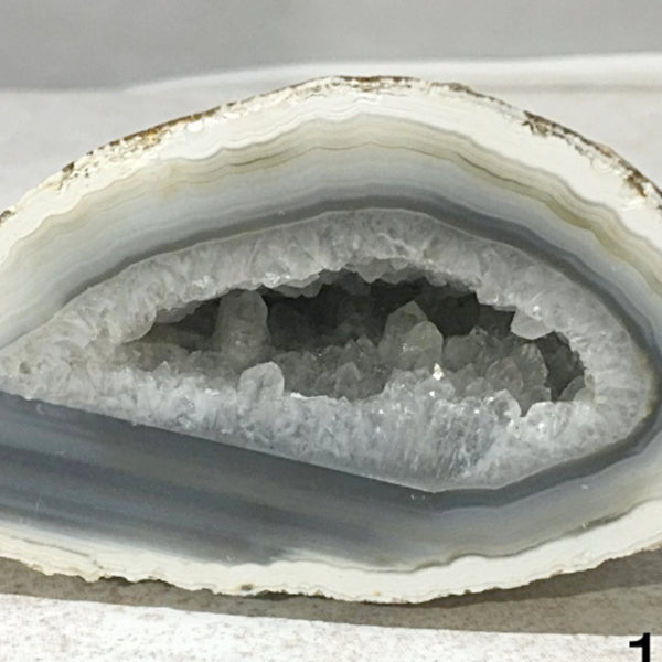 Agate Geode of Milky White and Gray Interior - New Earth Gifts