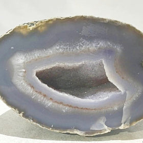 Agate Geode with Fine Gray Crystals - New Earth Gifts