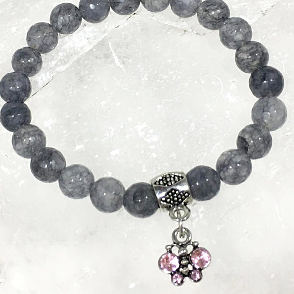 Gray Agate Bracelet with Jeweled Butterfly Charm - New Earth Gifts