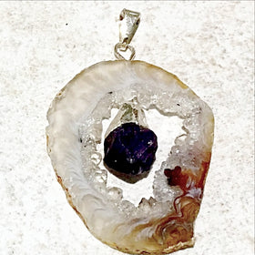 Agate Geode Slice With Amethyst Point Pendant  5 - New Earth Gifts