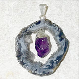 Agate Geode Slice With Amethyst Point Pendant - New Earth Gifts