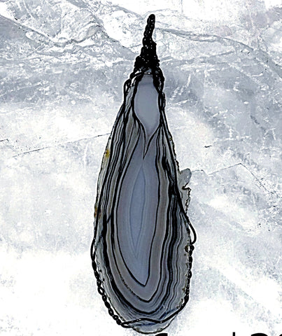 Agate Slice Pendant Extra Long with Exquisite Black Lines - New Earth Gifts
