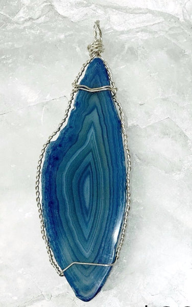 Agate Slice Blue Pendant XL Long Marquis Shape | New Earth Gifts