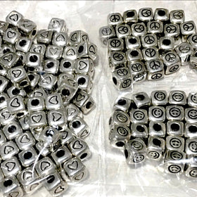 Smiley Face, Hearts, Peace Symbol 7mm Cube Beads. 150 Symbol Beads includes 100 heart symbol beads, 25 each of peace symbols and smiley faces. Great price! New Earth Gifts