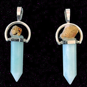 Amazonite Point Pendant with Citrine Crystal - New Earth Gifts