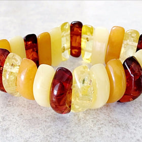 Amber Double Drilled Beaded Bracelet - New Earth Gifts