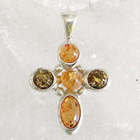 Amber Sterling Silver Cross | New Earth Gifts