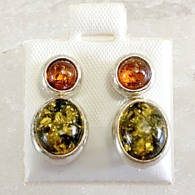 Amber Sterling Silver Earrings | New Earth Gifts