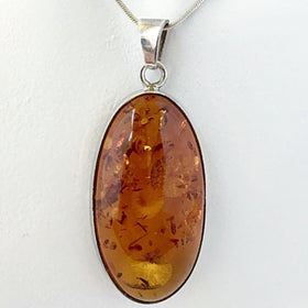 Amber Oval Sterling Pendant | New Earth Gifts