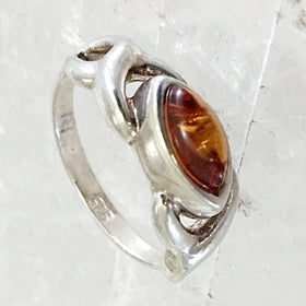 Baltic Amber Sterling Silver Marquis Ring | New Earth Gifts