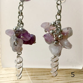 Quartz Point and Dark Amethyst Chip Earrings - New Earth Gifts