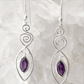 Sterling Silver Amethyst Goddess Earrings - New Earth Gifts