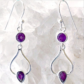 Sterling Silver Amethyst Dangle Earrings - New Earth Gifts