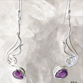 Angel Wings Amethyst Sterling Silver Drop Earrings - New Earth Gifts