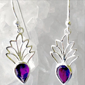 Tiara Sterling Silver Amethyst Earrings - New Earth Gifts