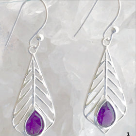 Amethyst Sterling Silver Earrings - Palm Leaf Design - New Earth Gifts