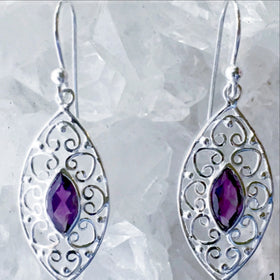 Amethyst Sterling Silver Earrings Victorian Style - New Earth Gifts