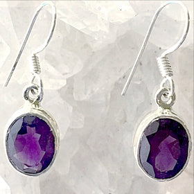 Amethyst Dangle Sterling Silver Earrings - New Earth Gifts