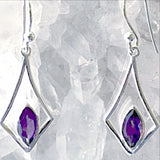 Amethyst Faceted Marquis Sterling Silver Earrings
