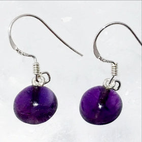 Amethyst Earrings - Sterling Silver, Simple Flat Back | New Earth Gifts