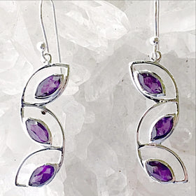 Amethyst Cascading Leaves Sterling Earrings -New Earth Gifts