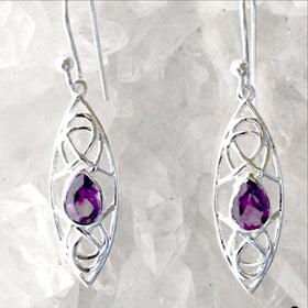 Amethyst Sterling Silver Earrings Abstract Style - New Earth Gifts