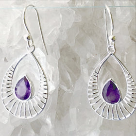 Amethyst Sterling Silver Earrings Sunrise Design - New Earth Gifts
