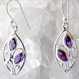 Amethyst Floral Sterling Silver Earrings - New Earth Gifts
