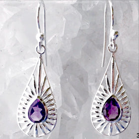 Amethyst Sterling Silver Dangle Earrings - New Earth Gifts