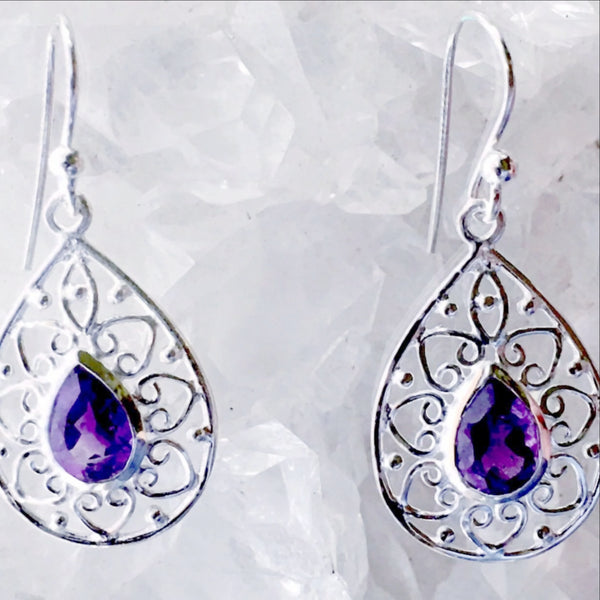 Sterling Silver Amethyst Earrings Teardrop Design - New Earth Gifts