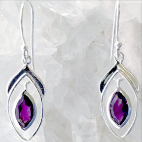 Amethyst Sterling Silver Earrings Double Marquis Styling - New Earth Gifts