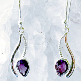 Amethyst Sterling Silver Dangle Earrings - Swinging Vine Style | New Earth Gifts