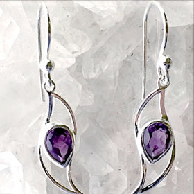 "Amethyst Sterling Silver ""Waves"" Earrings - New Earth Gifts"