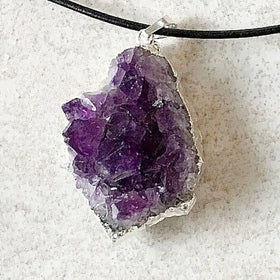 Amethyst Drusy 40mm Pendants Foil Wrap | New Earth Gifts