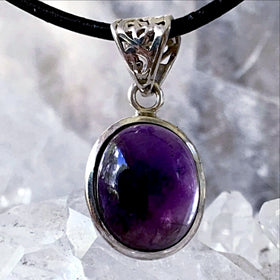 Amethyst Pendant - Sterling Silver Classic Style - New Earth Gifts